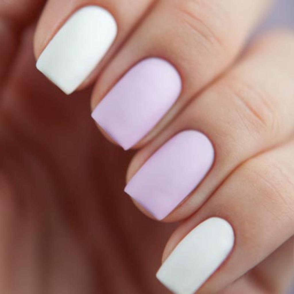 Белый матовый шеллак на ногтях